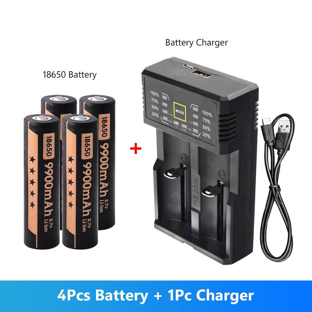 4 Uds 3,7 V voltaje 9900mAh 18650 batería recargable de ión-litio con cargador rápido para Mini ventiladores banco de energía de luz Led