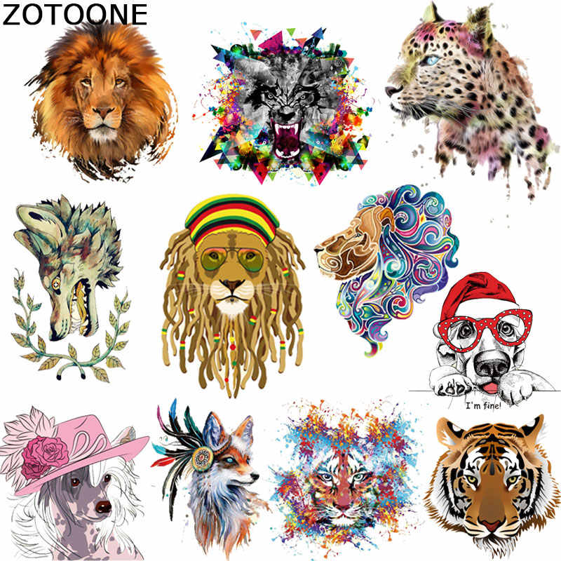 ZOTOONE Iron on Transfer Patch Tiger Lion Dog Animal Patch for Clothes T-shirt Stickers A-level Washable Heat Press Appliqued C