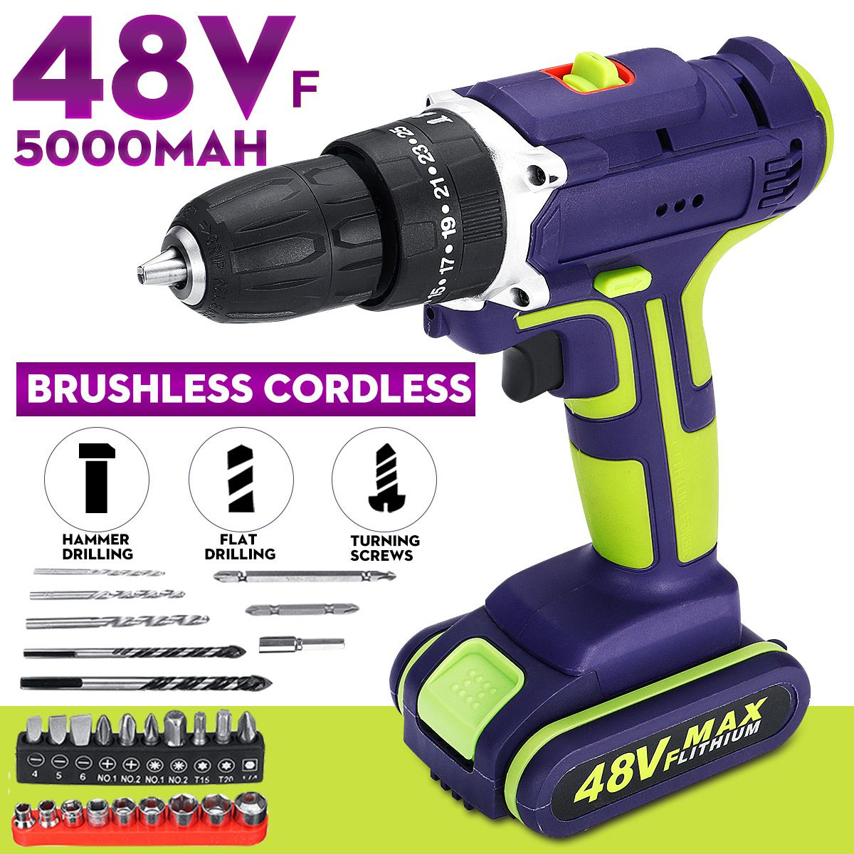 48V 3 In 1 Hammer Drill Cordless Double Speed Power Drills LED lighting Large Capacity Battery 50Nm 25+1 Torque Electric Drill