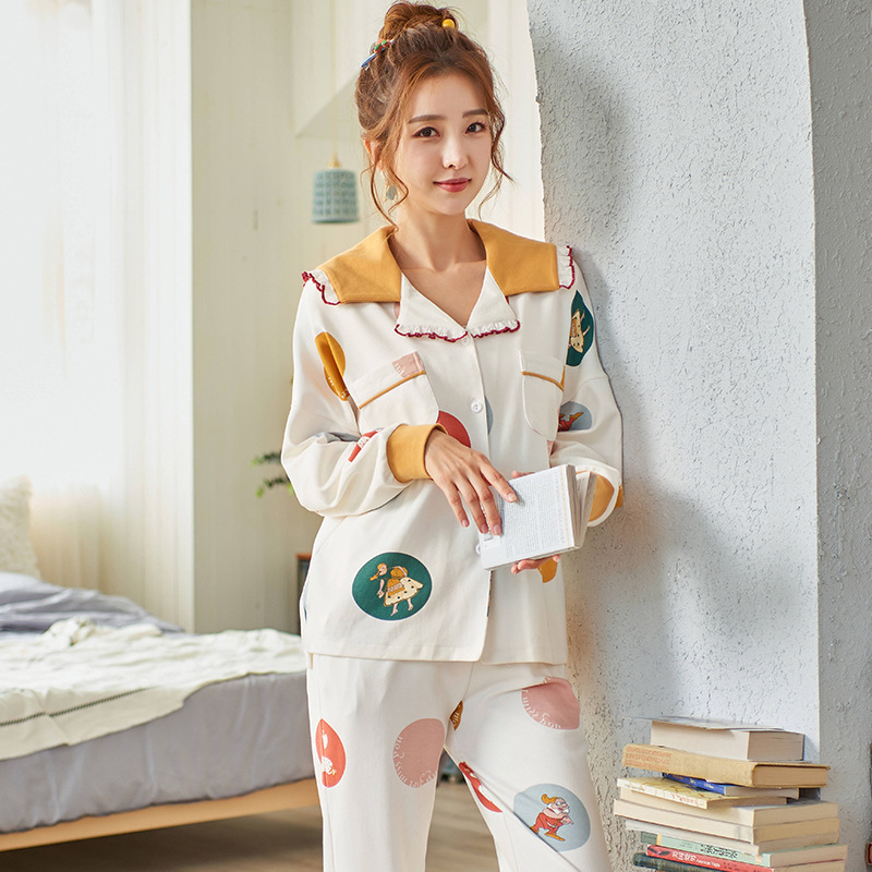 2020 Spring New Cardigan Lapel Women's Combed Cotton Long-Sleeved Pajamas Women's Home Service Casual Korean Version Pajama Set