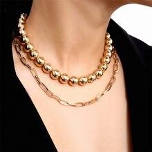 8mm contas correntes gargantilhas colares para mulher aço inoxidável hip hop jóias prata cor colar 2020