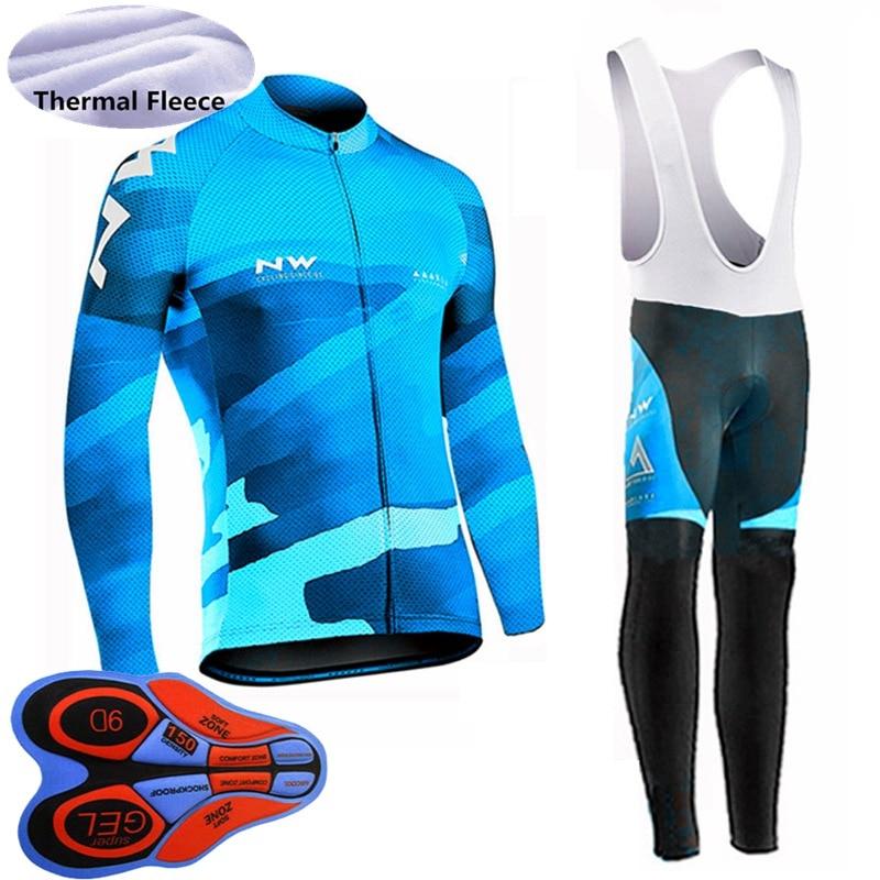 Womens Cycling Winter Thermal Fleece Jersey Bib pants Suit Warmer Bike Uniform