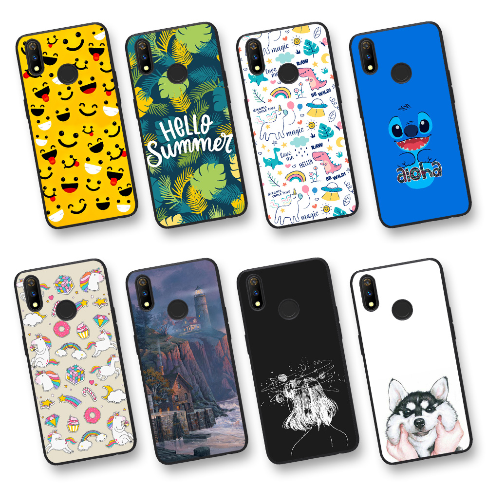 Animal Cool Design Patterned Fashion Back Cover Case For Realme 3 Pro Phone Case For Realme X Cute Soft TPU Paint Matte Cartoon