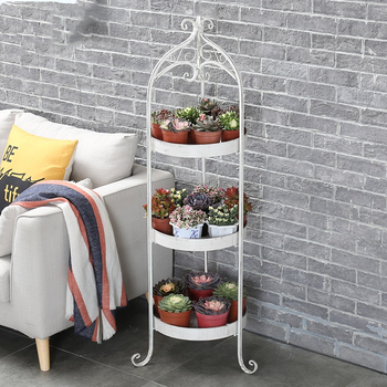 Balcony flower rack wrought iron multi-layer indoor living room green radish meat flower pot shelf round green flower shelf rack