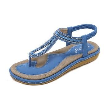 Flip Flops Women Sandals Bohemian Women Slippers Women Flat Shoes Ladies Sandals 2020 Summer Beach Sandals Large Size elegant ladies flat heel summer slippers women beaded shining rhinestone flip flops shoes fashion and casual beach sandals