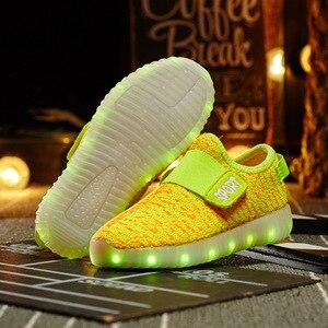 Image 3 - サイズ25 37子供led usb充電グローイング靴子供のフックループ靴子供のグローイングスニーカー子供led発光靴