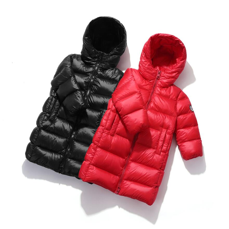 Модное блестящее зимнее длинное Детское пальто на белом утином пуху, пуховик для маленьких мальчиков и девочек, теплая детская одежда, детс...