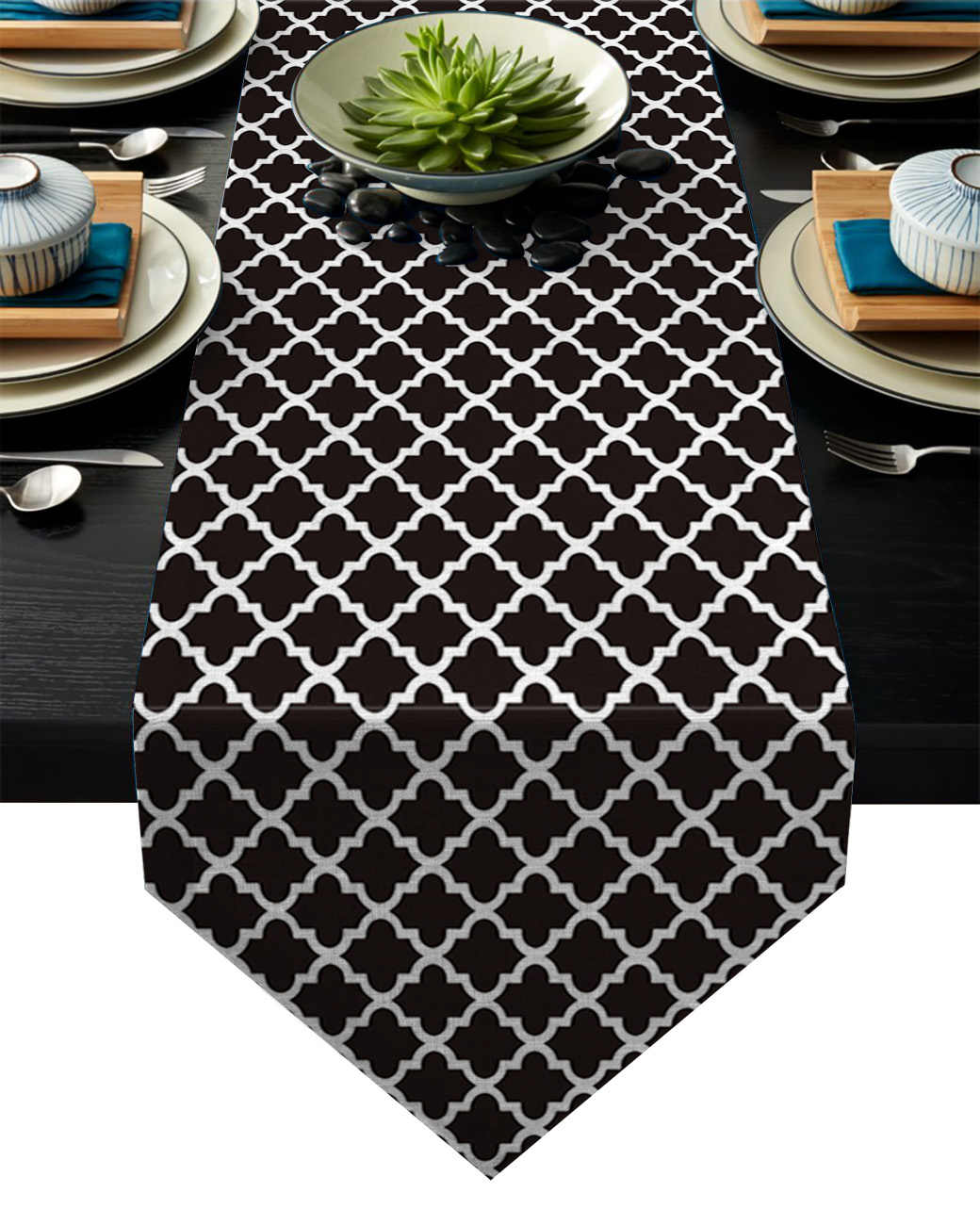 Modern Morocco Black White Table Runners Kitchen Decor Flag Tablecloth Placemat Hotel Home Runner For Wedding Aliexpress