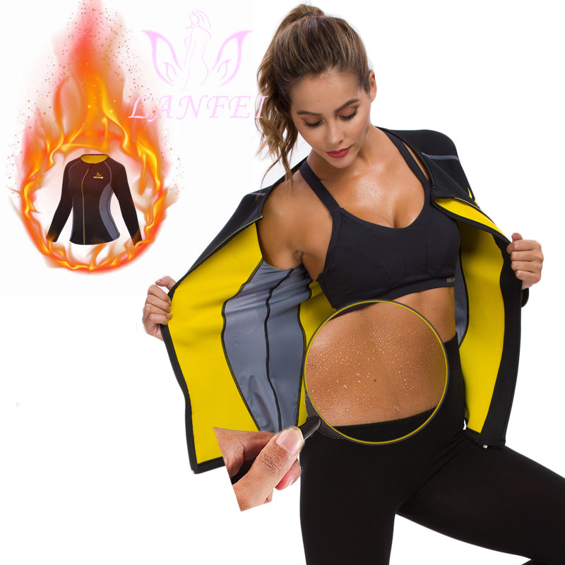 LANFEI Women Neoprene Long Sleeve Sweat Sauna Shirt Weight Loss Sport Workout Slimming Vest Body Shaper Waist Trainer Corset Top