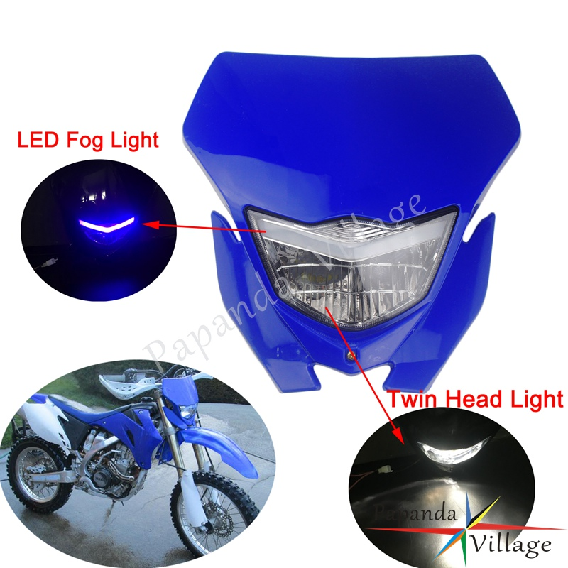 Universal Enduro Racing Headlight H4 Dual Light LED Fog Light Front Lamp Mask For Yamaha WR250 WR450 TTR TT-R YZ85 YZ125F YZ250F