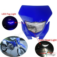 Universal Enduro Racing Headlight H4 Dual Light LED Fog Light Front Lamp Mask for Yamaha WR250 WR450 TTR TT R YZ85 YZ125F YZ250F   -