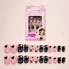 24pcs/set  Fake Nails Kids Cat Pink False Nail Tips Cartoon Short Cute Art Women Children Toy Decoration