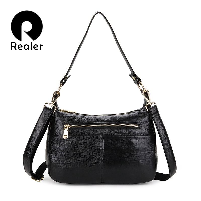 REALER Woman Genuine Leather Handbags Totes Female Classic Serpentine Prints Shoulder Crossbody Bags Ladies School Messenger Bag
