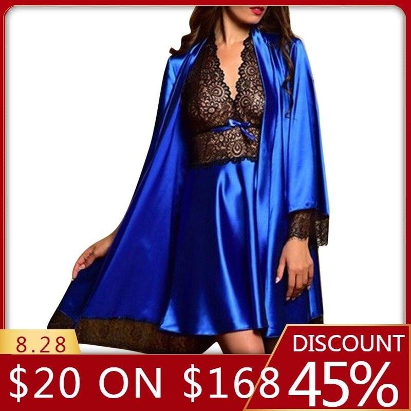 Women's sleepwear Sexy Satin Lace Sleepwear Babydoll Lingerie Nightdress Pajamas Set lingerie pyjamas women lingerie L30729