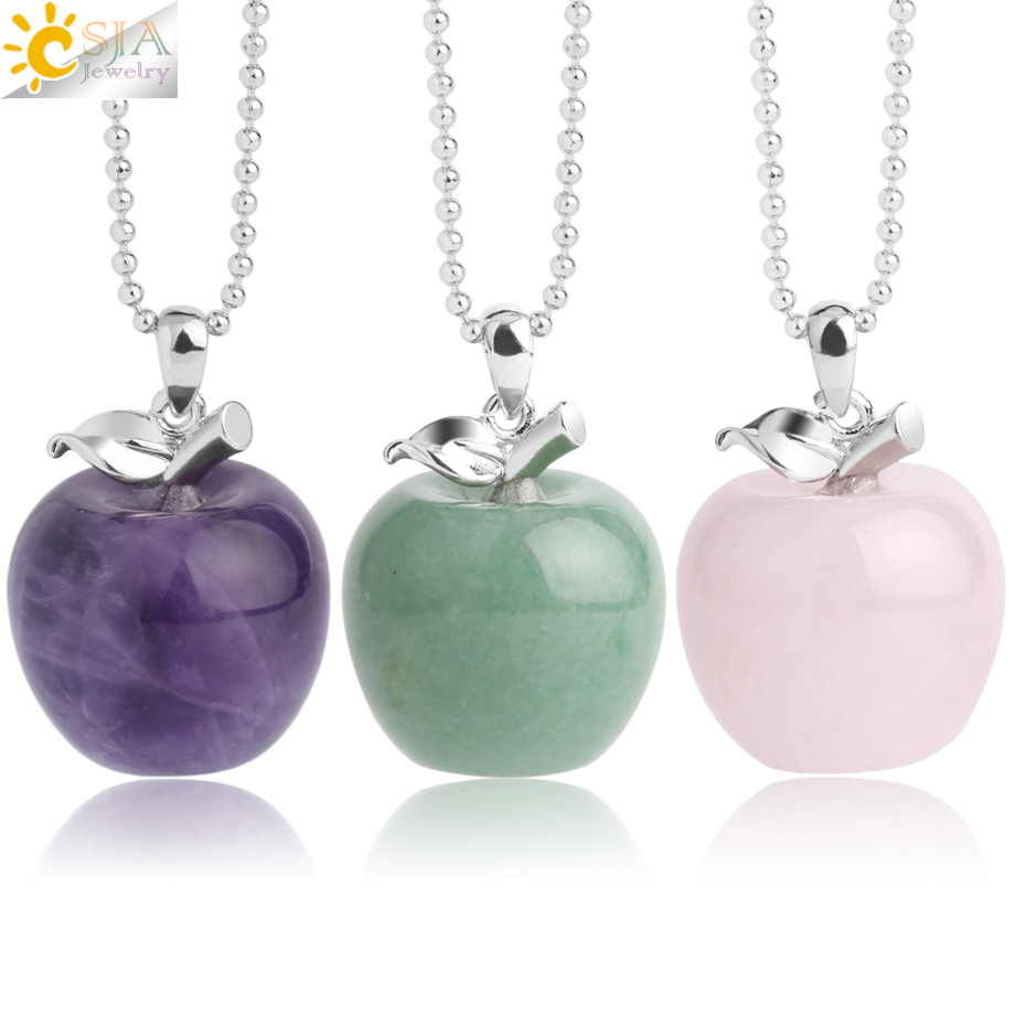 CSJA Suspension Apple Natural Stone Pendant Crystal Pendants Quartz Bead Necklaces Fashion Jewelry for Female Women Gift G046