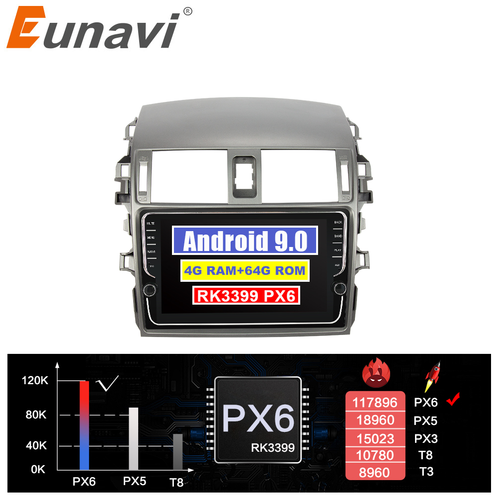 Eunavi Android system car multimedia radio player for <font><b>Toyota</b></font> <font><b>Corolla</b></font> <font><b>E140/150</b></font> 2007-2011 autoradio stereo gps PX6 4G 64GB NO 2DIN image