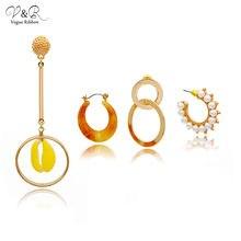 Набор золотых сережек с подвесками ассиметричный дизайн Женский