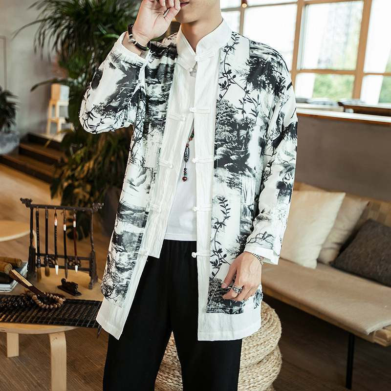 Mens Spring Autumn Jackets Cotton Linen Floral Printed Trench Kung Fu Tai Chi Costume Male Traditional Chinese Clothing CN-112
