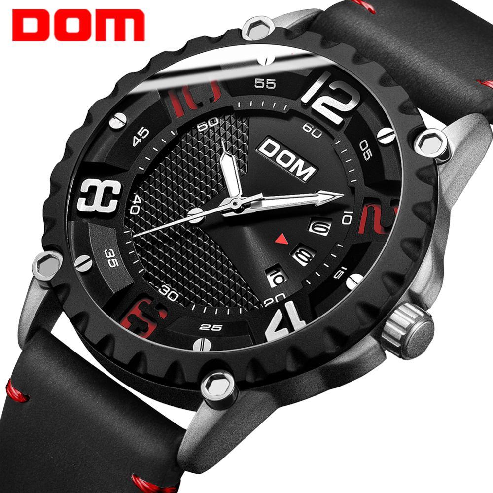 DOM Watch Men Stylish Creative Leather Quartz Watch Waterproof Calendar Luminous Sport Military Watch Relogio Masculino M-1221