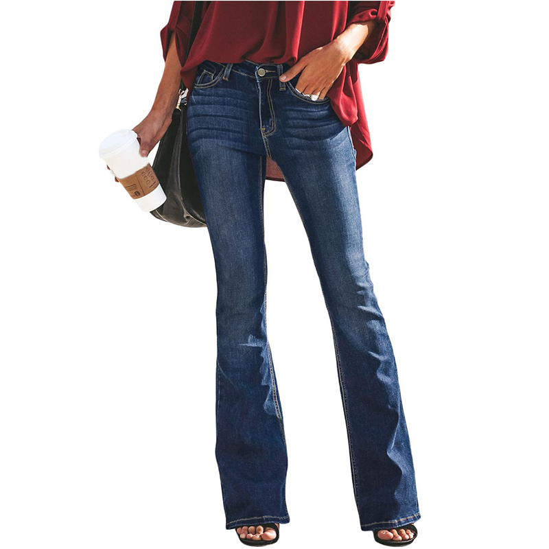 High Waist Jeans Mom Flare Jeans For Women Bell Bottom Vintage Denim Skinny Jeans Woman Plus Size Black Female Wide Leg Pants 2