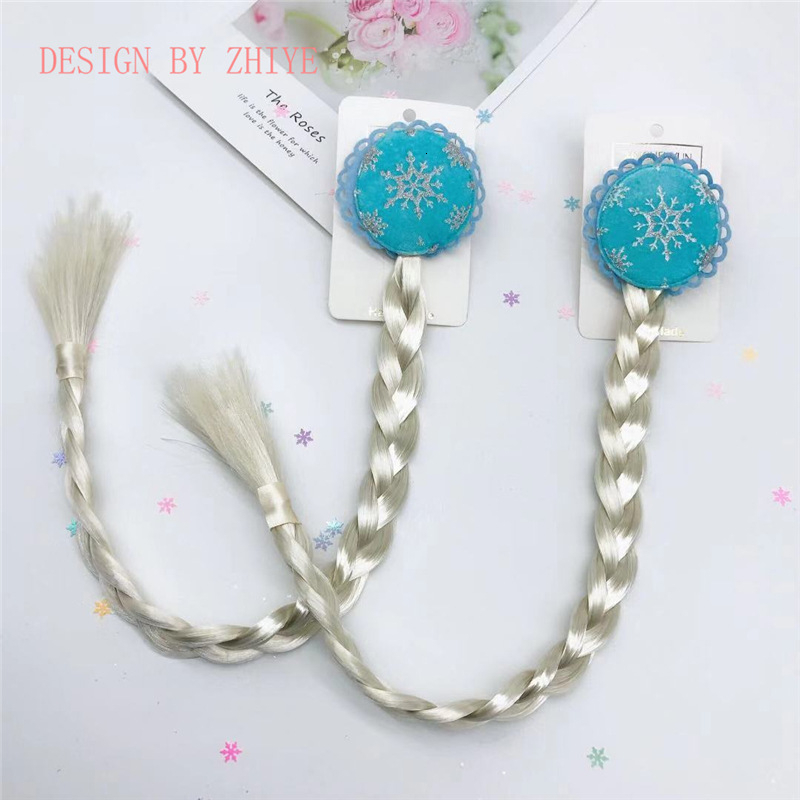 Frozen 2 Children Wig Braids Baby Girl Cosplay Toys Show Dress Up Accessory Princess Style Braids Hair Clip Photo Prop Headwear
