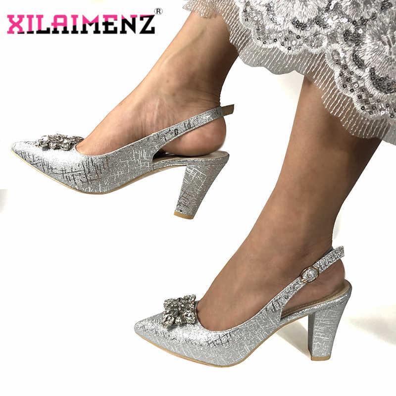 2019 Royal Blue Nieuwe Afrikaanse Bruiloft Wees Teen Sandaal voor Party Top Kwaliteit Modieuze Italiaanse Dames schoenen Fabriek Prijs