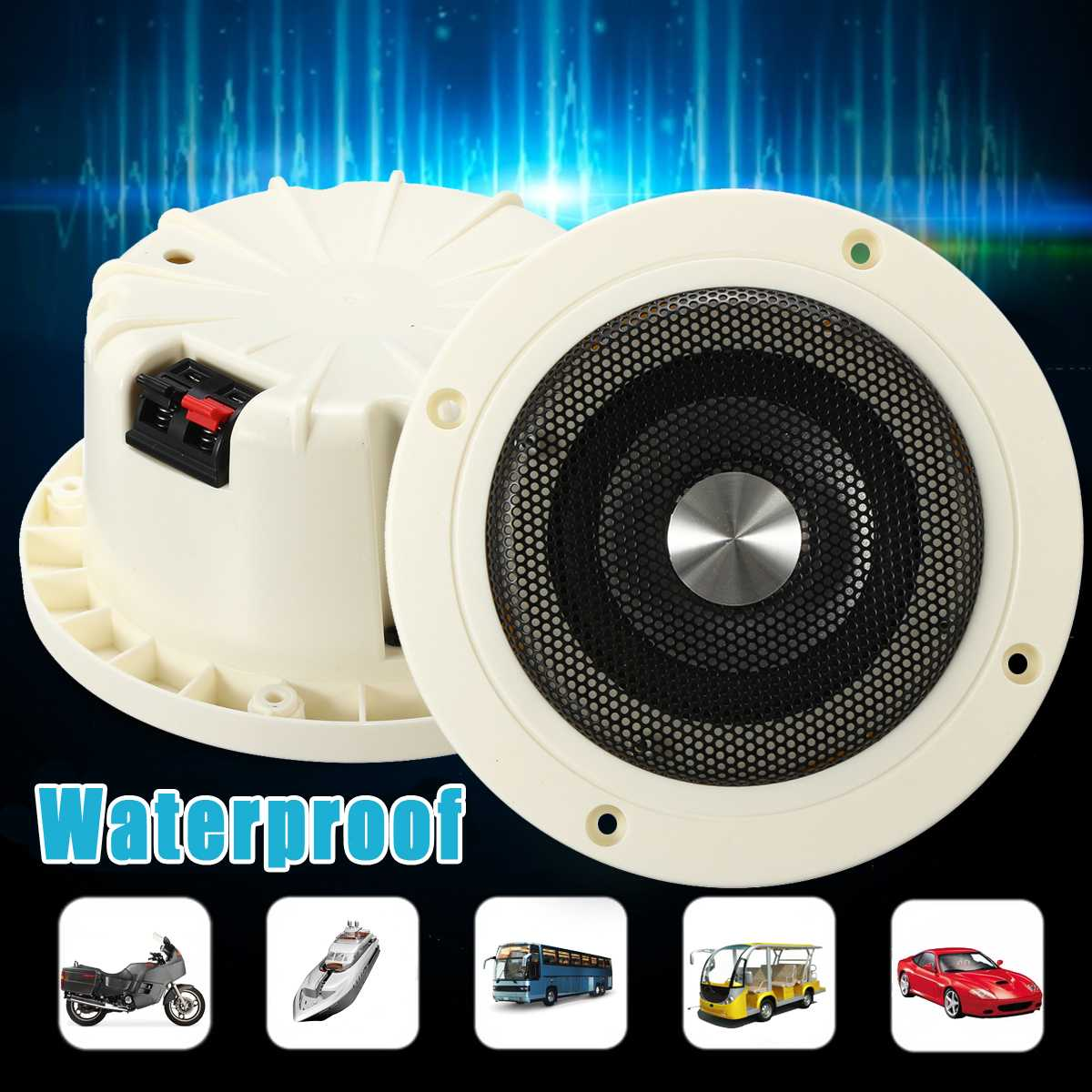 30W Waterproof Ceiling Speakers Boat ATV UTV Marine Stereo Audio Speakers