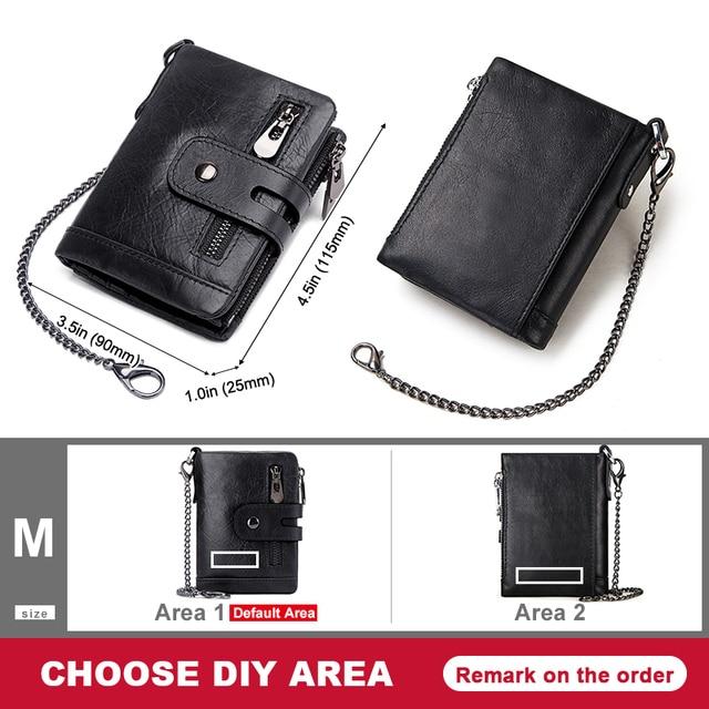 GZCZ Rfid Genuine Leather Men Wallet Coin Purse Small Mini Card Holder Chain PORTFOLIO Portomonee Male Min Walet Free Engraving 6