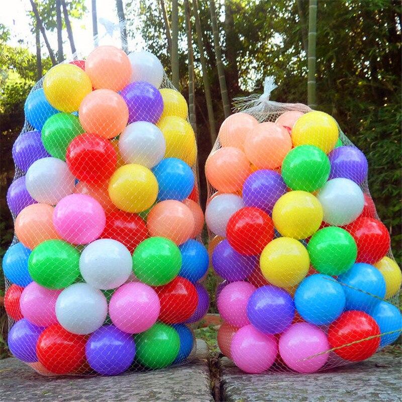 200 unids/bolsa de plástico océano bola respetuoso del medio ambiente Bola de colores pozos bebé chico nadar juguete suave olas piscina de agua bola diámetro 5,5 cm
