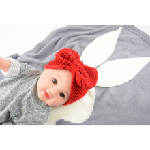 baby blanket Cute Rabbit Animals Pattern Stroller blankets Soft warm Knitted Swaddle Kids Bath Towel Toddler Bedding Blankets цена в Москве и Питере