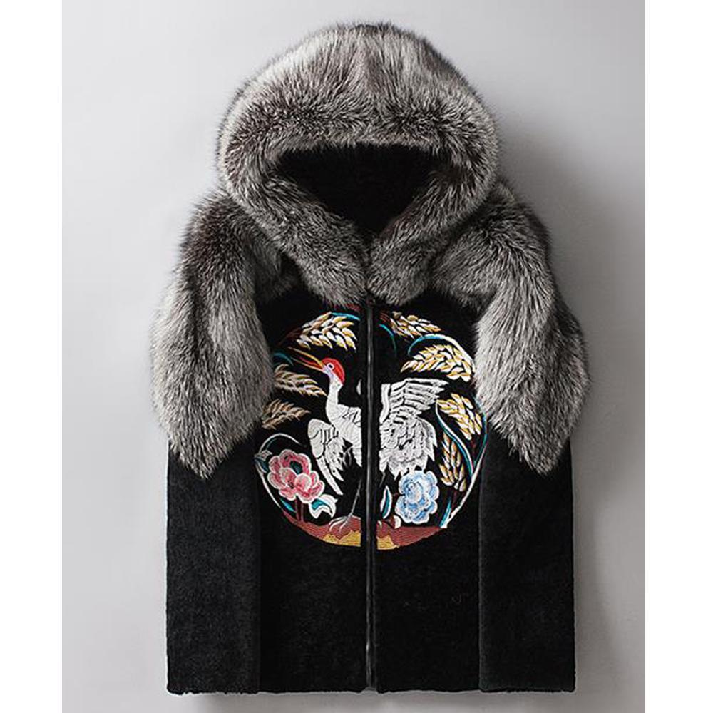 2019 New Mens Sheepskin Shearling Jacket Fox Fur Coat Men's Leather Jacket National Wind Embroidery Winter Coats