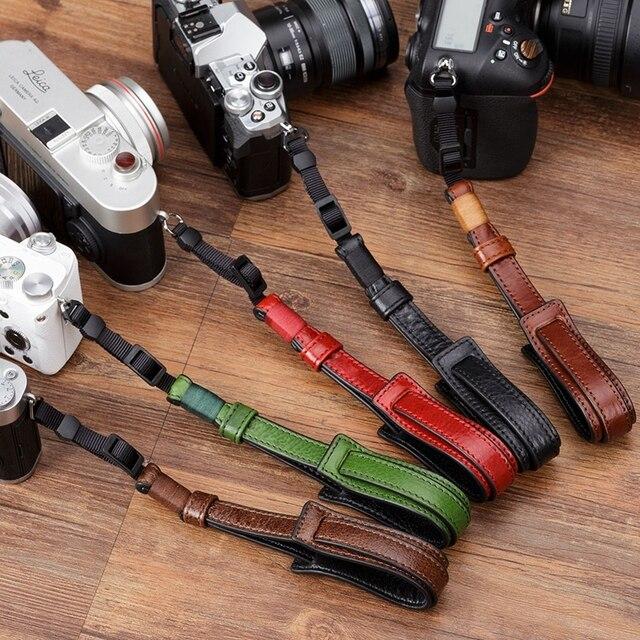 소니/Leica/Olympus/Panasonic/Fuji 용 빈티지 정품 가죽 카메라 스트랩 그립 미러리스 디지털 카메라 끈 손목 스트랩