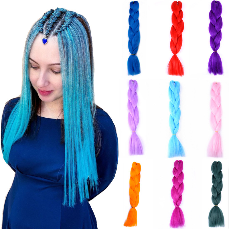 Full Star Synthetic Hair Ombre  Jumbo Braids Hair Extension Black Pink Colorful Bubble Braids for Women Party Rave Braids