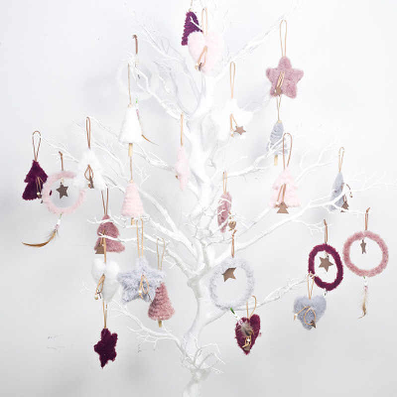 5 יח'\סט יצירתי בפלאש תליית תליון ורוד לבן לב כוכב נוצת קישוט חג המולד קישוט חג מולד בבית
