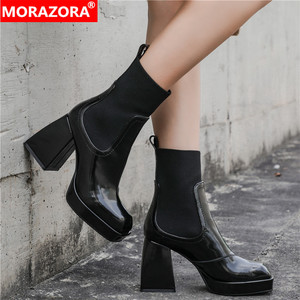MORAZORA Nature Full Genuine Leather Chelsea Boots Womne Thick High Heels Square Toe Spring Autumn Ankle Boots For Women Botas