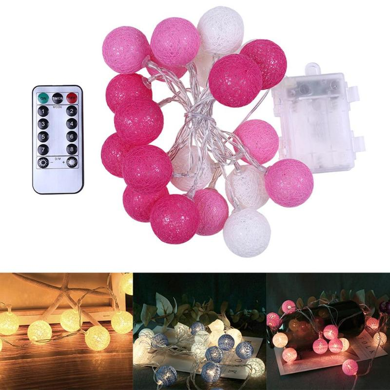 20LED Cotton Ball Light String Outdoor Garland Light Valentine Wedding Christmas Party Holiday Decor Bedroom Fairy Lights