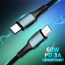 Тип C USB-C к кабель с микро usb-портом для зарядки PD 60 Вт быстрой зарядки передачи данных для Macbook Samsung Xiaomi USBC кабель-переходник «папа»-Micro A/B