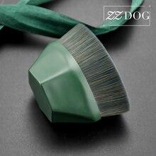 ZZDOG 1Pcs Liquid Foundation BB Cream Concealer Makeup Brush Seamless Flat-Head Cosmetic Tools Quick Makeup Beauty Brush Green