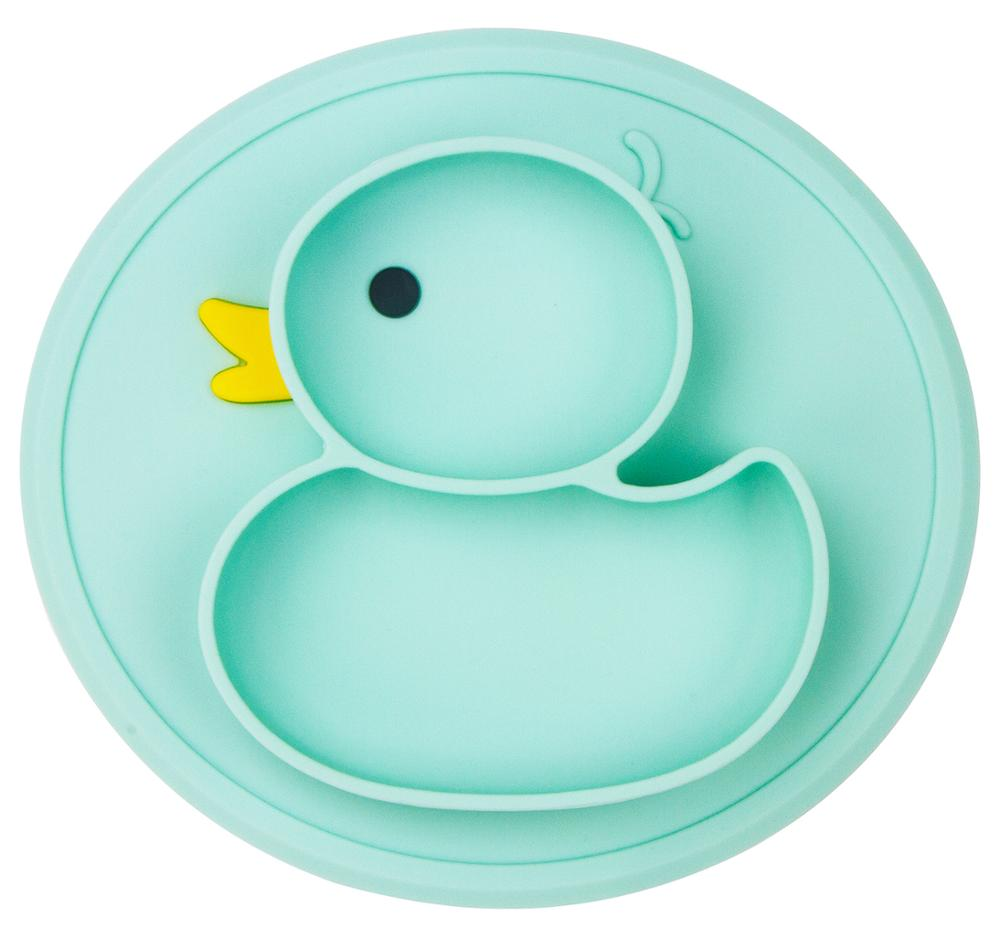 Qshare Baby Duck Dishes Silicone Plate Suction Tray Antislip Mini Mat Toddler Placemat Children Kids Baby Food Feeding Bowl