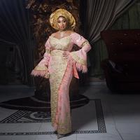 Peach Pink Evening Dresses Aso Ebi Floor Length Gold Appliques Feather Prom Gown Plus Size Ruffles Sleeves Formal Party Dress