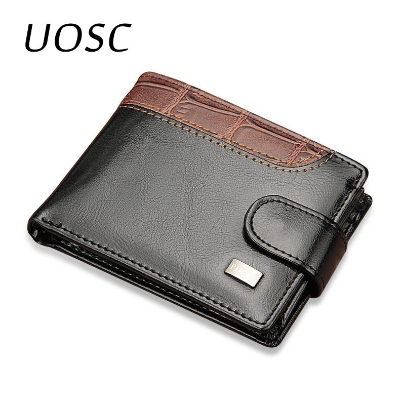 UOSC кожаные винтажные мужские кошельки, маленький короткий кошелек с карманом для монет, мужской кошелек, держатель для карт, мужской клатч, ...