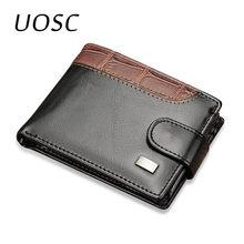 Uosc couro dos homens do vintage carteiras moeda bolso ferrolho pequeno curto carteira titular do cartão masculino embreagem saco de dinheiro