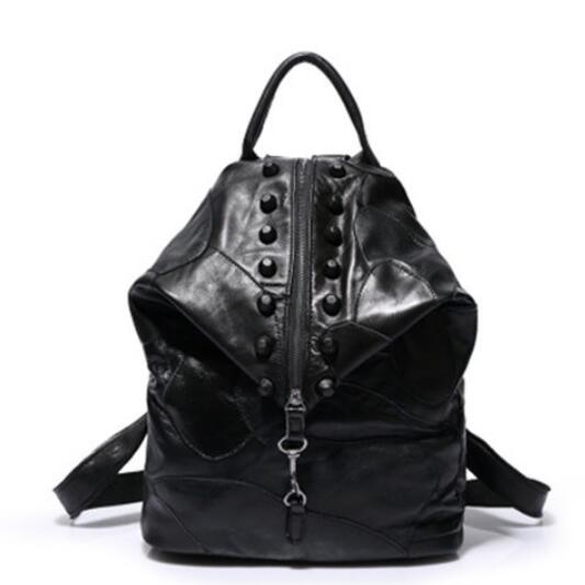Fashion backpack leather stitching retro ladies backpack in Europe and America