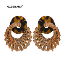 GZBEIYANG Ethnic Acrylic Earrings 2019 Round Handmade Hollow Weave Bamboo Pendant Earrings for Women Girls Fashion Jewely Gifts(China)