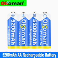 100% New 1.2V AA 5200mAh NI MH Pre-Charged Batteries Ni-MH AA Rechargeable Battery For Toys Camera Microphone