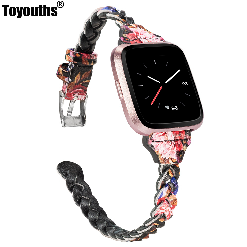 Leather Bands For Fitbit Versa/Versa 2 Women Men Slim Handmade Weave Wristband Braided Strap Replacement Bracelet Accessories