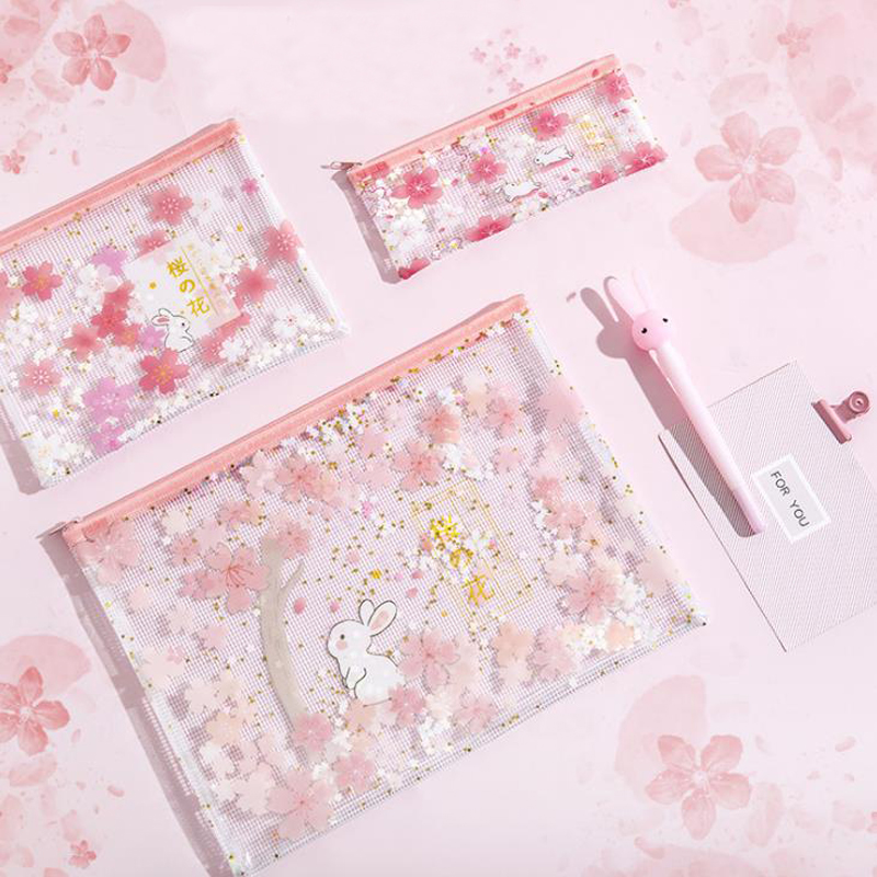 1 Pcs A4 A5 B6 Rabbits Under Cherry Blossoms Trees Sakura Sequins Transparent File Folder Zipper Document Bags Stationery Gifts