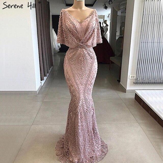 Dubai rosa com decote em v pérolas rendas vestidos de baile 2020 meia mangas sereia sexy elegante formal vestidos de baile bla70156