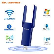 Adapter USB Wifi 1300 mb/s Adapter Wi-fi 5Ghz Bluetooth 4.2 Ethernet 2 * 3dbi antena PC Wi-fi dla komputera muzyka Bluetooth Receiv