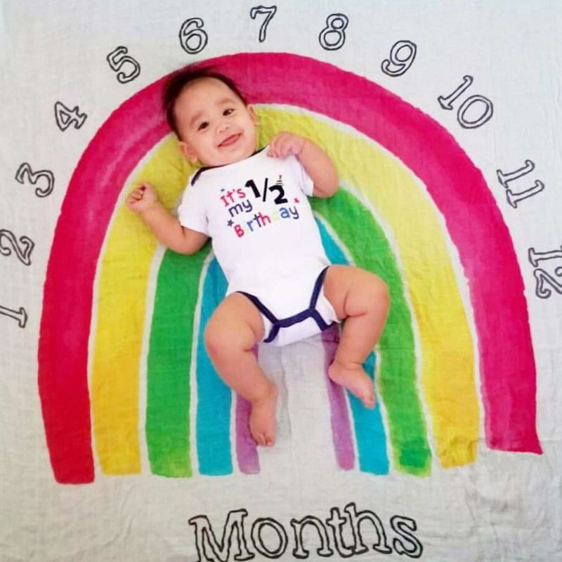 Newborn Photo Background Cloth Boys And Girls Baby Month Blanket Photography Posing Costume Props Rainbow Gate Pattern K4UE